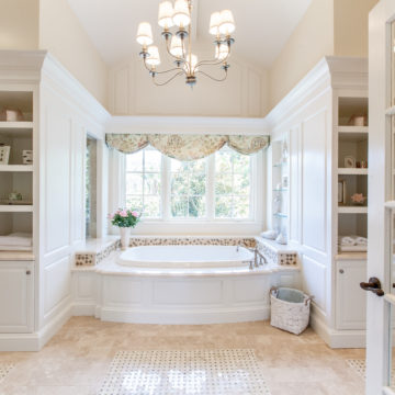 Here are some photographs of two bathrooms we built that are fit for a King and Queen. La Jolla, Ca